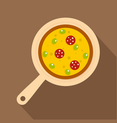 Pizza on round board icon flat style vector