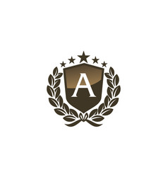 royal vip shield leaf initial a vector image