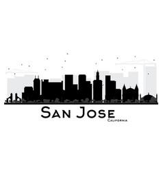 San jose california city skyline black and white vector