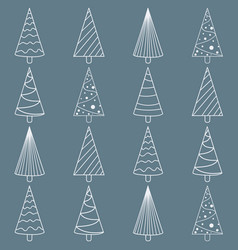 seamless pattern with various christmas trees vector image vector image
