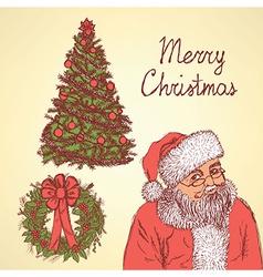 Sketch christmas set in vintage style vector