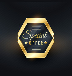 Special offer golden label badge design vector