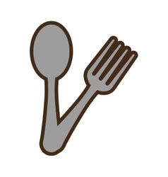 spoon and fork utensils kitchen design vector image