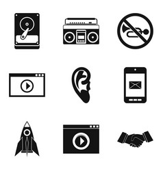 video player icons set simple style vector image