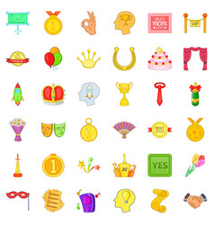 winner icons set cartoon style vector image vector image