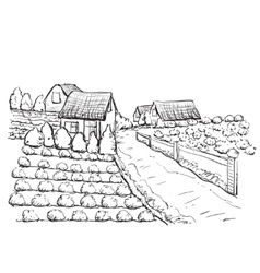 Hand drawn village houses sketch and nature vector
