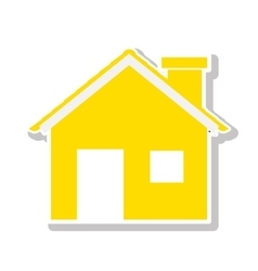 Silhouette with yellow house and trees vector