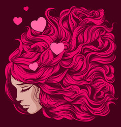 Loving girl with pink long hair vector