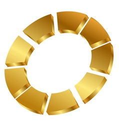 Gold cycle icon vector