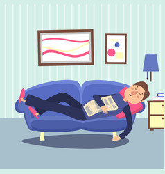 Funny sleeping man at home sofa with newspaper vector