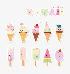 kawaii ice cream set sweets isolated on white vector image