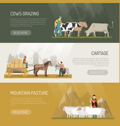 Farm animals pasture banners vector
