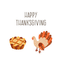 Set of thanksgiving pie and turkey isolated vector