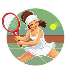 Beautiful girl play tennis vector