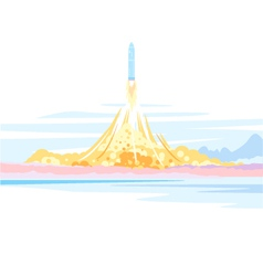 Spaceship launch landscape vector