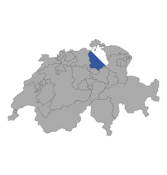 Map of Switzerland with flag of Zuerich vector image