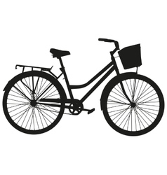 Black silhouette of a bicycle with a basket vector