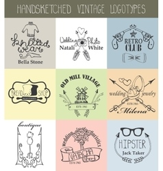 Vintage logotypes setdoodle hand drawn sketched vector