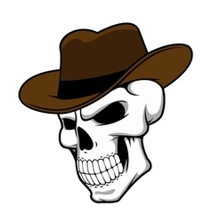 Cowboy skull wearing a stylish fedora hat vector
