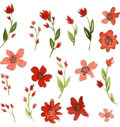 Set of watercolor drawing red flowers vector