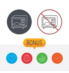 Microwave oven icon kitchen appliance sign vector