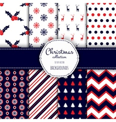 Collection of seamless patterns with red and white vector