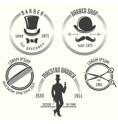 Gentleman barber shop labels vector