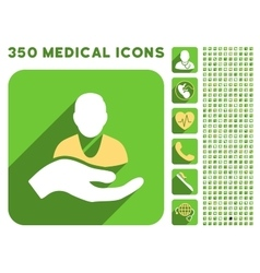 Patient assistance icon and medical longshadow vector