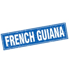 French guiana blue square grunge vintage isolated vector