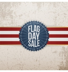 Flag day sale badge with ribbon and shadow vector