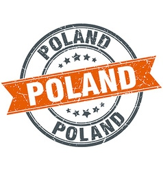 Poland red round grunge vintage ribbon stamp vector