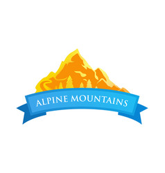 Alpine mountains emblem vector