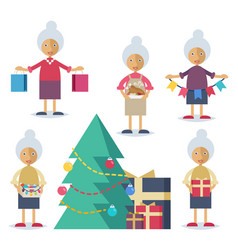 an old woman preparing for christmas vector image