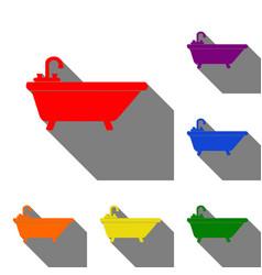 bathtub sign set of red orange vector image vector image