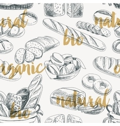 Bread retro seamless pattern vector