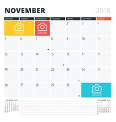 Calendar planner for november 2018 print design vector