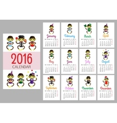 Calendar print template with funny monkeys vector