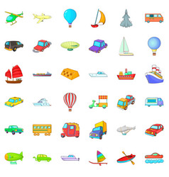 Different vehicle icons set cartoon style vector