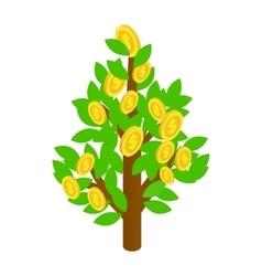 Dollar tree icon isometric 3d style vector