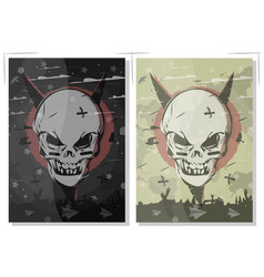 evil skull set terrible gothic poster the banner vector image vector image