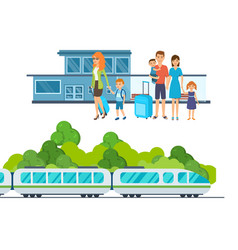 families with luggage await train at station vector image vector image