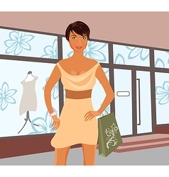 fashion shopping girl near shop - vector image