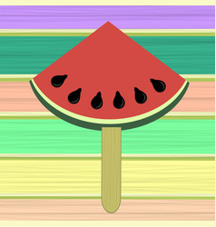 Fresh slice of watermelon on colorful wood planks vector