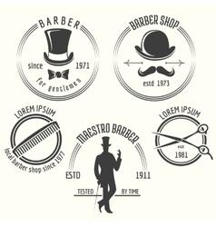 Gentleman barber shop labels vector image