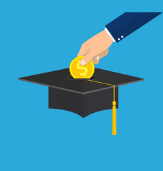 hand put gold coin in graduation cap vector image vector image