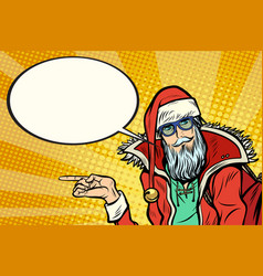 Hipster santa claus shows sideways and says comic vector