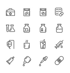 Icons set of pills line icons vector
