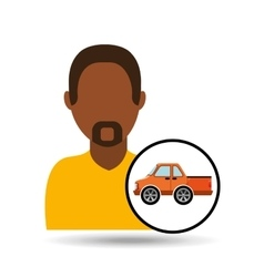 man bearded character vehicle transport vector image