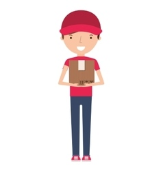 man delivery worker isolated icon vector image vector image