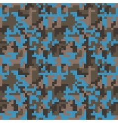 Pixel camo seamless pattern fashion blue trendy vector